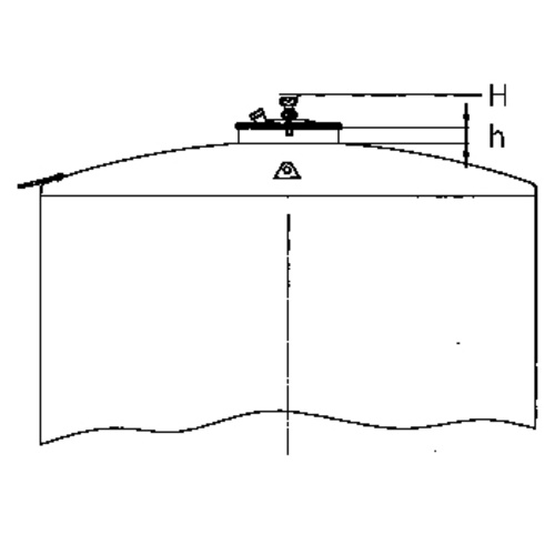 Top Hatch for Sealed Tanks: 400mm Diameter, Centered, 200 mm Neck Height