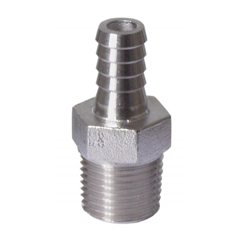 Stainless - 1/2 in. MPT x 3/8 in. Barb (1/4 in. ID)
